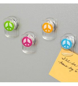 Peace Magnetic Clips 4/Card, Assorted Colors