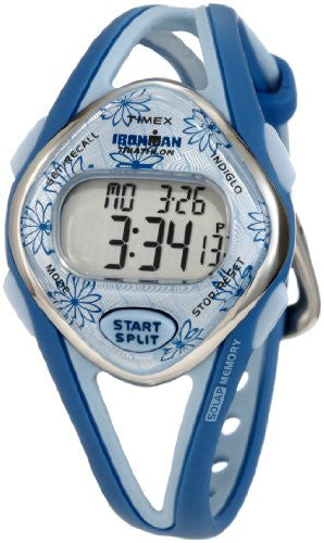 Women's Ironman Sleek 50 Lap Blue Floral Resin Band Watch