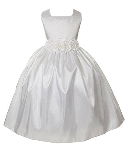 Sleeveless, Light-Weight Taffeta Dress with Hand-Rolled Flower Cummerbun White