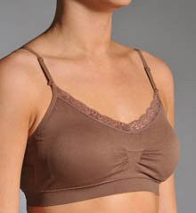 Coobie Strappy V-Neck Lace Trim Bras (Mocha / One Size)