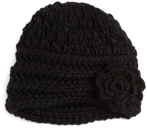 Women's Flower Beanie, Black