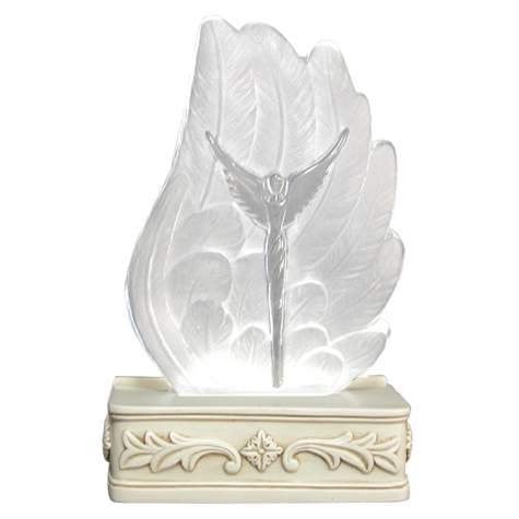 Illuminated Glass Angel Wing Figurine
