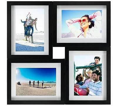 Malden 4-Opening Puzzle Wood Collage Frame for 5 x 7 Inches Prints - Black