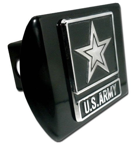 Army Star (Chrome) Black Hitch Cover