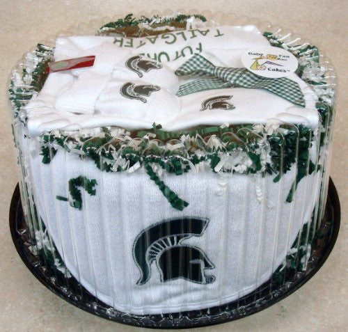 Michigan State Spartans Baby Fan Cake Clothing Gift Set (NB - 3 Months, Color Trim)
