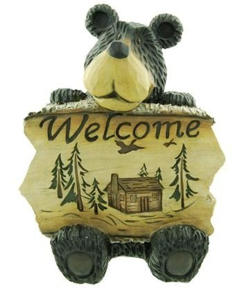 Woodi Bear With Welcome Sign