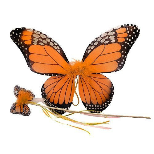 "2 Pcs Monarch Butterfly Set (Wing and wand). Color: Orange. Size 18"" (fits 2-6 years)"