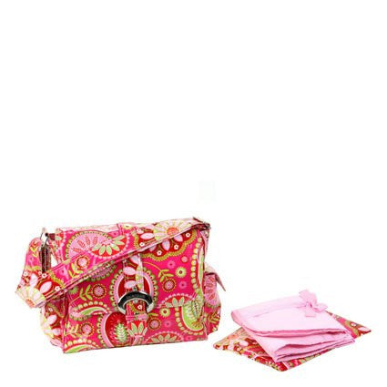 "STYLE 2960 - LAMINATED BUCKLE BAG -   Cotton Candy Paisley Pink - 14""L x 6""W x 11""H"