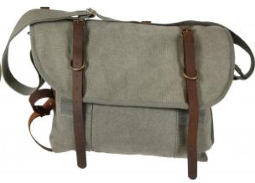 Olive Drab Vintage Canvass Explorer Shoulder Bags w/Leather Accents