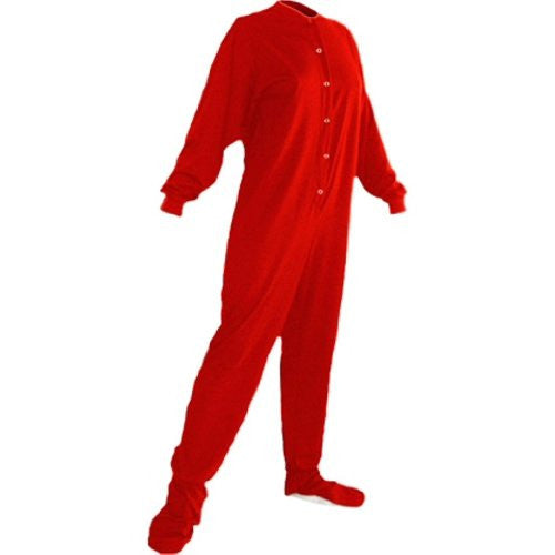 Big Feet Pjs Red Cotton Jersey Adult Footed Pajamas w/ Drop-seat