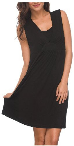 Layered V-Neck Chemise: Black, Small