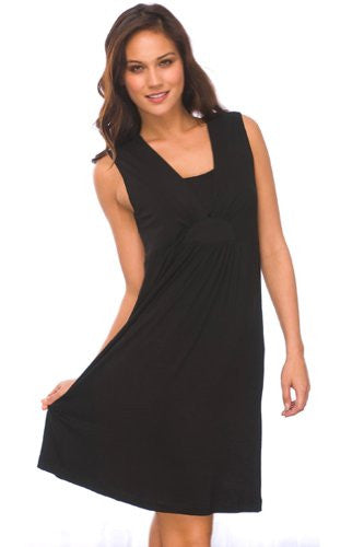 Layered V-Neck Chemise: Black, Medium