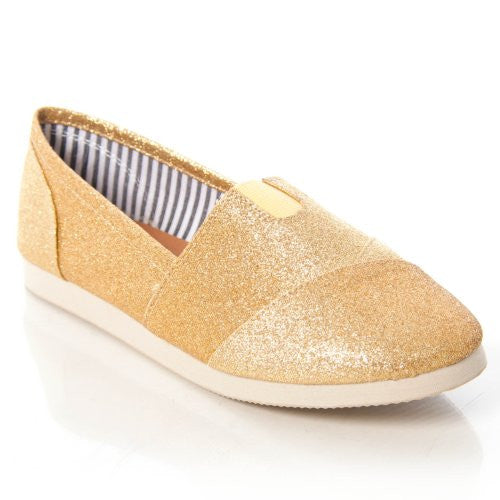 Soda Women Object Flats-Shoes,8.5 B(M) US,Gold Glitter