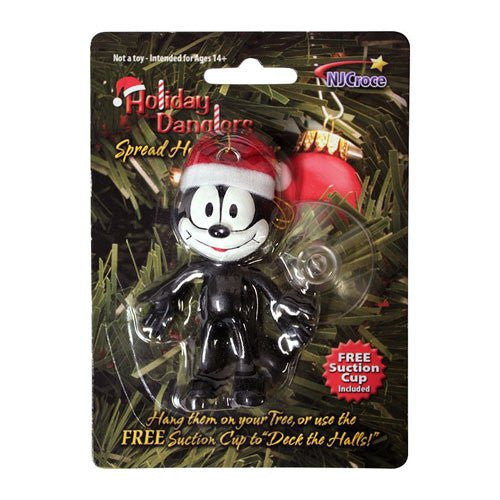 Felix the Cat in a Santa Hat Holiday Ornament