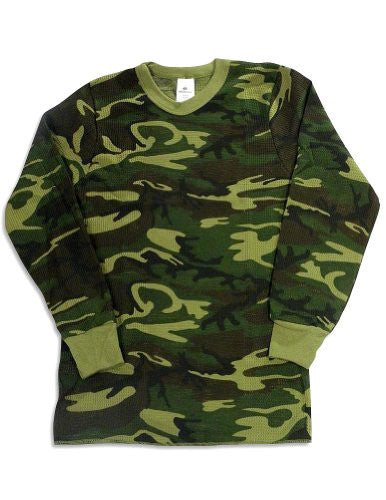 MENS TOPS 5.0 OZ. 65/35 COTTON/POLY WOODLAND CAMO - Large
