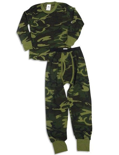 BOYS 5.0 OZ. 65/35 COTTON/POLY WOODLAND CAMO - SET, Large