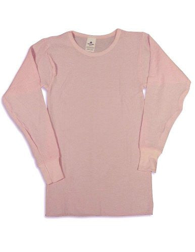 Indera - Womens Long Sleeve Thermal Top, 5000LS (Pink / Medium)
