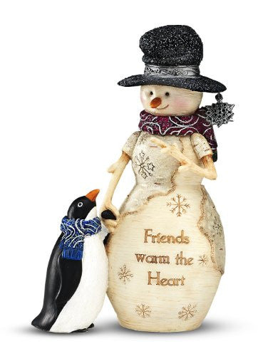 "Friends Warm the Heart 5"" Snowman with Penguin"