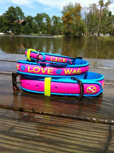 No Bones About It - Lick Love Wag Dog Collars - Pink Limeade, Large