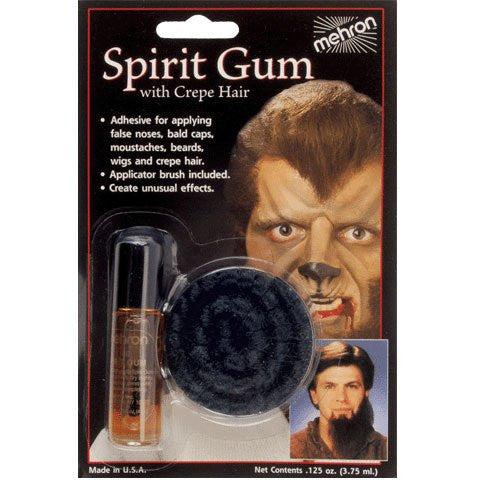 Spirit Gum with Crepe Hair - Black