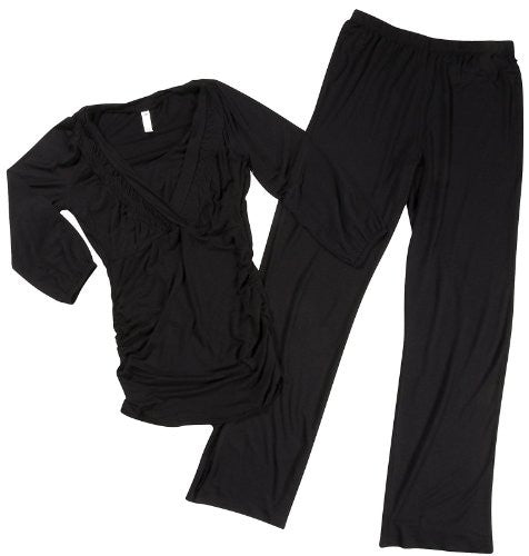 Smocked V-Neck Pajama Set - 3/4 Sleeves: Black, Medium