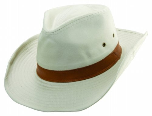 Dorfman Pacific Men's 1 Piece Garment Washed Twill Outback Hat With Genuine Leather Trim (Putty / X-Large)