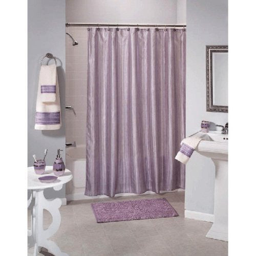 Shimmer Stripes Purple Fabric Shower Curtain