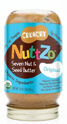 Nuttzo Nut Butters with Omega 3 Original, Crunchy At least 95% Organic 16 oz