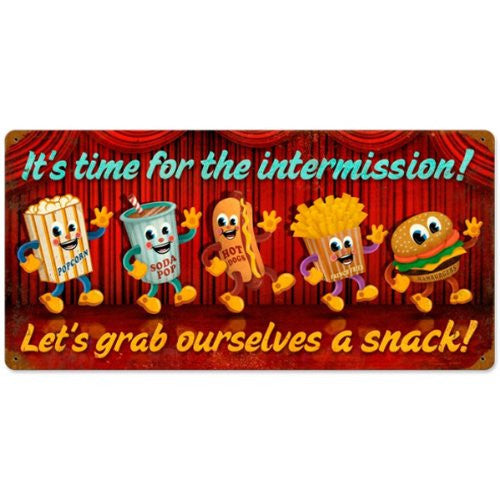 Intermission Snacks vintage metal sign measures 24 inches by 14 inches