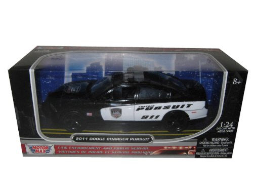 Motormax - Dodge Charger Pursuit Police Car (2011, 1/24 scale diecast model car, Black/White)