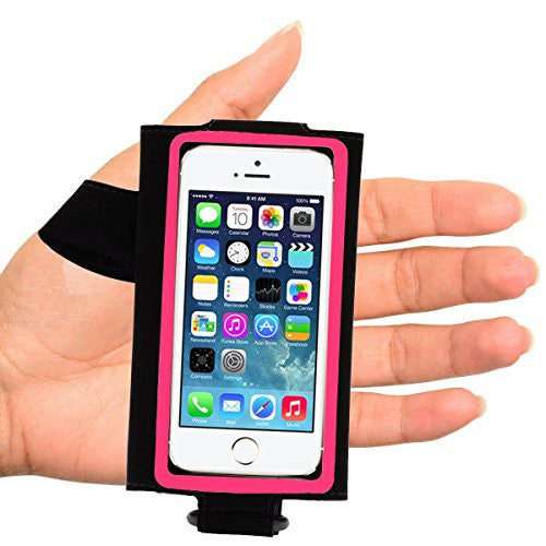 arm/hand band for larger phones - left hand - black with pink