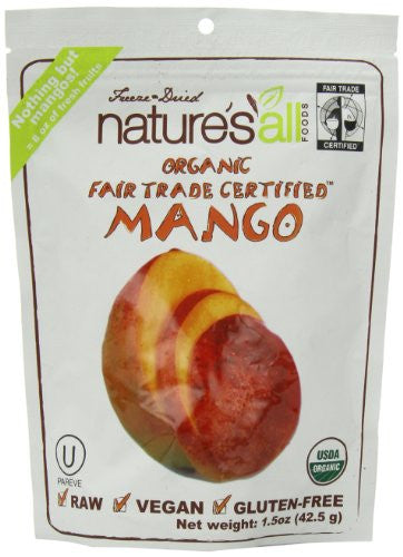 Nature's All Foods Freeze Dried Fruit Mango, Fair Trade Raw At least 95% Organic (1.5 oz.)