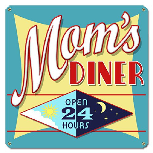 Mom's Diner metal sign measures 12 inches by 12 inches