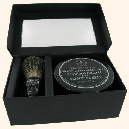 Taylor of Old Bond Street Black Pure Badger Shaving Brush and Jermyn St. Shaving Cream Bowl 150g Gift Set 2 pc shave set
