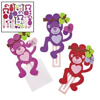 Valentine Monkey Clip Bookmark Craft Kit (makes 12)
