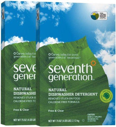 Seventh Generation Auto Dish Powder, Free & Clear, 75 oz-2 pack