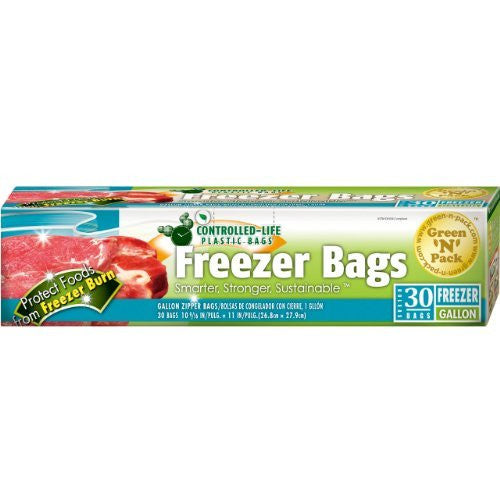 Freezer Bags, Double Zipper, Gallon Size, 30-Count