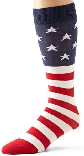 K. Bell Socks Men's American Flag Sock, Red/White/Blue, 10-13