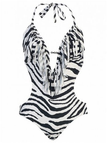 MW Women's Fringe Swimwear Monokini Bikini 1-Piece Swimsuit (Black/White Zebra / Large / 10)