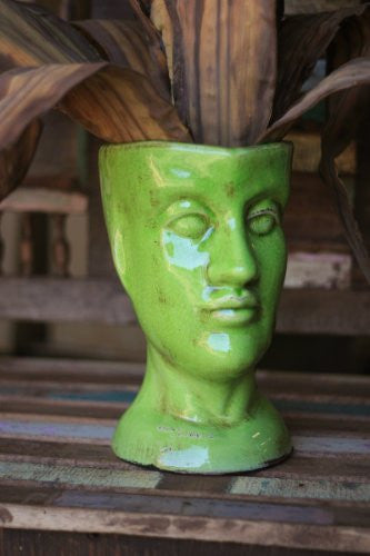 Ceramic Head Planter, Green