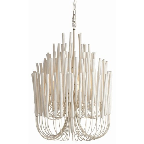 Tilda Chandelier, 5 Light/Whitewashed Wood/White Iron