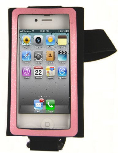 hand/arm band for smaller phones  - right hand - black/pink stripe