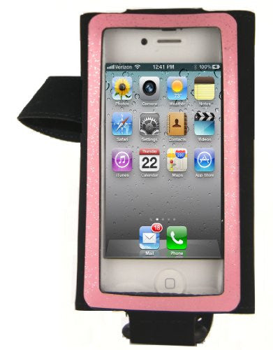 hand/arm band for smaller phones  - left hand - black/pink stripe
