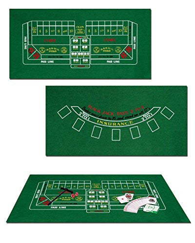 Blackjack/Craps Set Includes: Game Felt, Craps Rake