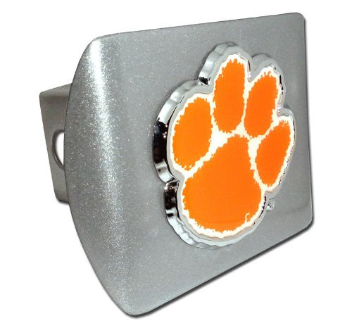 Clemson (Paw with color) Brushed Chrome Hitch Cover