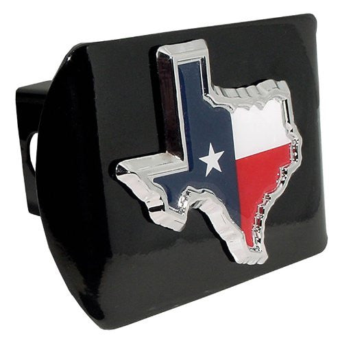 Texas Flag (TX Shape with color) Black Hitch Cover