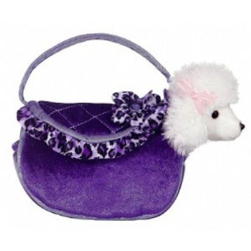Fancy Pal White Poodle With Purple Ruffles
