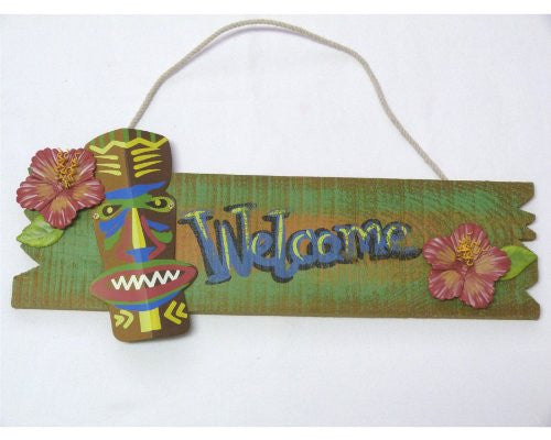 Wood Welcome Sign with Metal Tiki Statue and Hibiscus Flowers