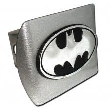 "Batman ""Brushed Silver with ""Oval Chrome Bat"" Emblem"" Metal Trailer Hitch Cover Fits 2 Inch Auto Car Truck Receiver"