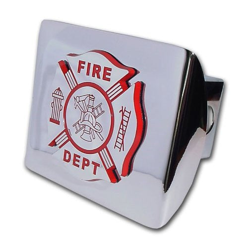 Firefighter (Chrome & Red) Shiny Chrome Hitch Cover